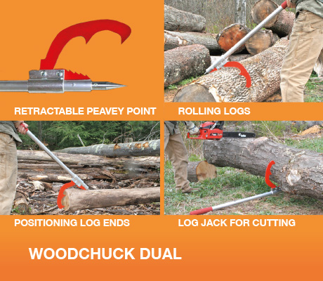 Positioning /& Cutting Logs Woodchuck Tools Dual /& Jack Combo for Rolling