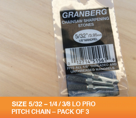 "GRINDING STONES SIZE 5/32 PACK OF 3 WILL SHARPEN 3/8"" LO PRO AND 1/4"" CHAINS"