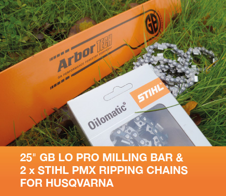 "H-SNHL25-50WR-x2 25"" GB Lo Pro Milling Bar + 2x Stihl PMX Ripping Chains + GB912 Adapter For Husqvarna 65, 66, 266, 360, 362, 372XP, 575XP, 576XP, 390XP 3/8 Lo Pro .050 84 drive links"