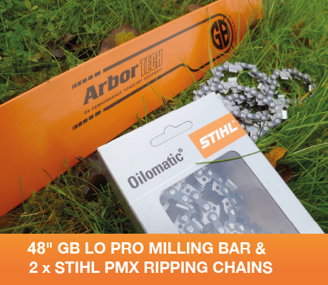 "SNHL48-50WRx2 48"" GB Lo Pro Milling Bar + 2x Stihl PMX Ripping Chains For Stihl 066, MS660, MS661 3/8 Lo Pro .050 153 drive links"
