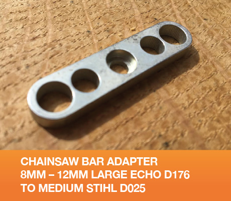 Chainsaw Bar Adapter 8mm – 12mm Large Echo D176 to Medium Stihl D025