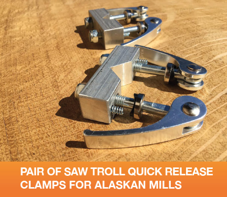 PAIR OF SAW TROLL QUICK RELEASE CLAMPS FOR ALASKAN MILLS